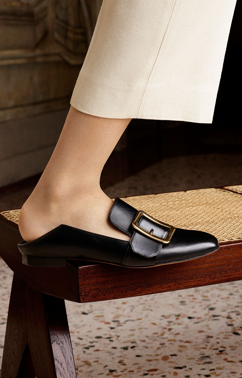 The Bally Babouche Slipper in black from the SS16 Collection